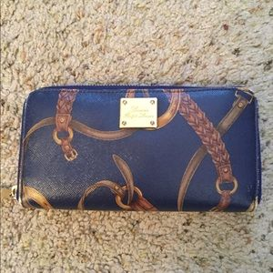 RALPH LAUREN NAVY LEATHER BELTED WALLET, LIKE NEW
